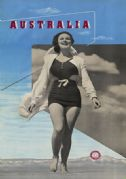 Lady in Swimsuit. Australia. Vintage Travel poster by Douglas Annand & Max Dupain
